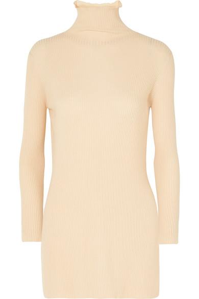 Arje Ribbed Wool Turtleneck Sweater In Cream