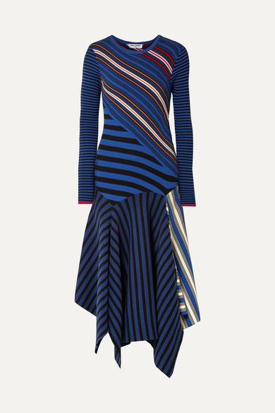Opening Ceremony Dresses Asymmetric striped cotton-blend midi dress