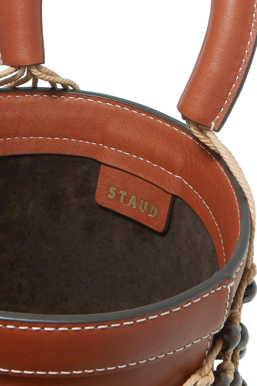 STAUD Moreau leather and beaded macramé bucket bag