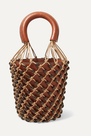 Moreau leather and beaded macramé bucket bag