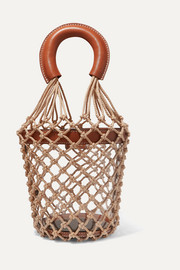 Moreau leather, PVC and macramé bucket bag