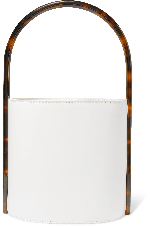STAUD Bissett leather and tortoiseshell acrylic bucket bag