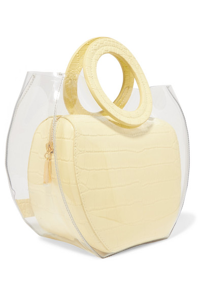 Staud Totes Frida PVC and croc-effect leather tote