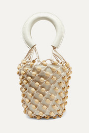 Moreau mini leather and beaded macramé bucket bag