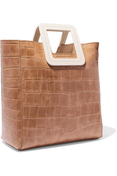 Staud Totes Shirley two-tone croc-effect leather tote