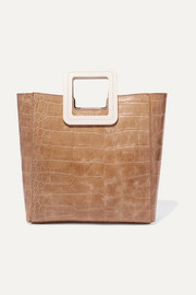 Shirley two-tone croc-effect leather tote