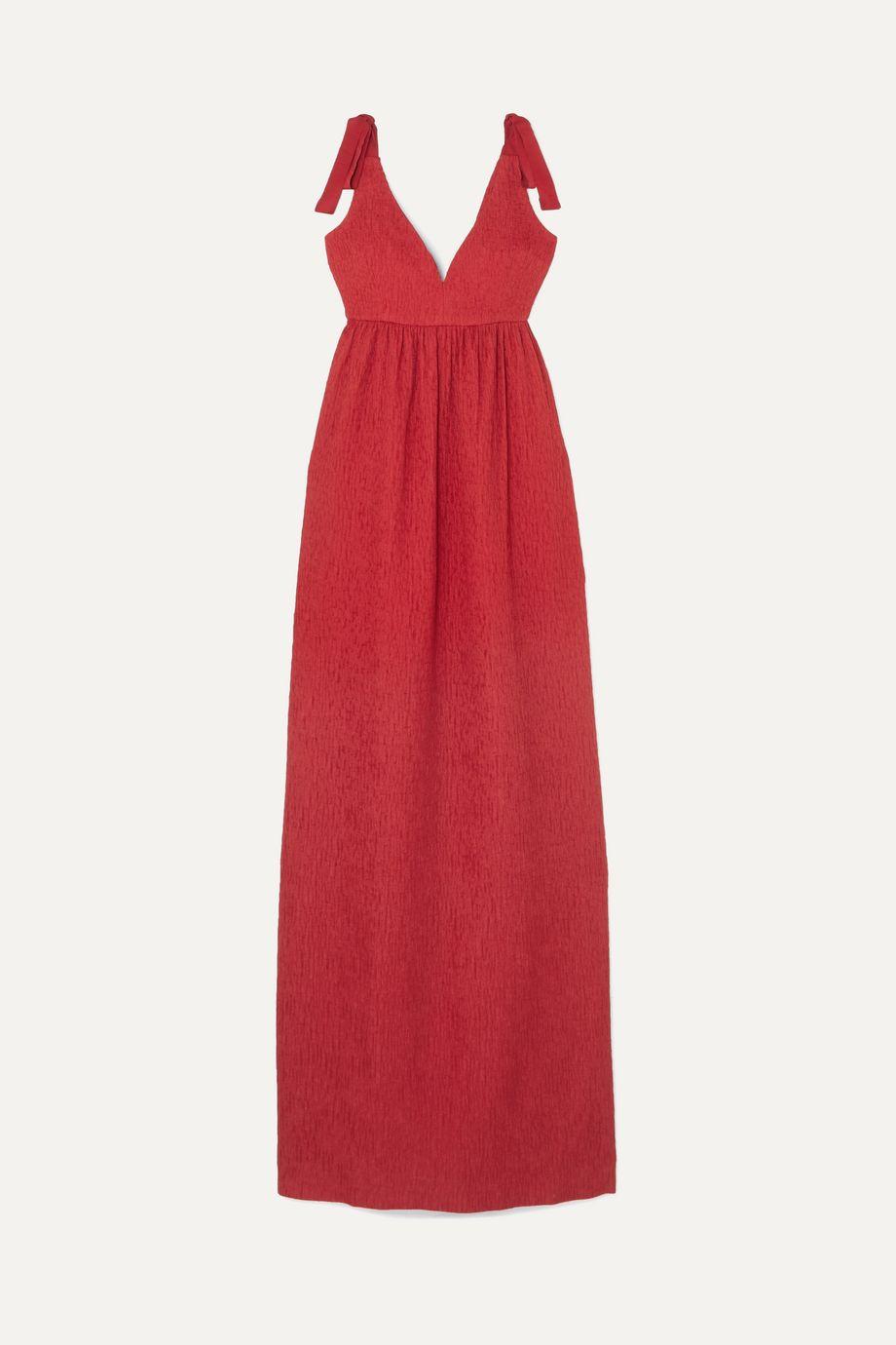 Rebecca Vallance Harlow bow-detailed cloqué maxi dress
