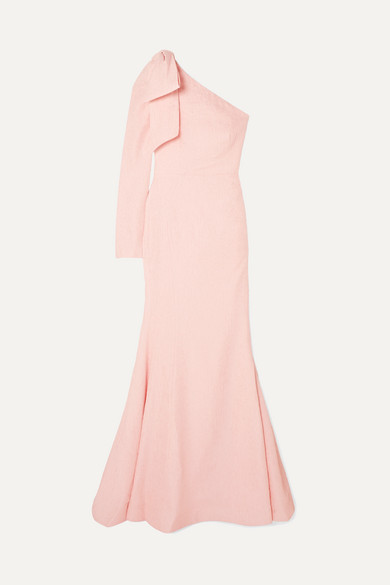 Rebecca Vallance Tops HARLOW ONE-SHOULDER BOW-DETAILED CLOQUÉ GOWN