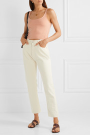 Gigi cropped ribbed stretch-knit top