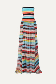 Caroline Constas Marianna strapless striped silk-chiffon and stretch-jersey maxi dress