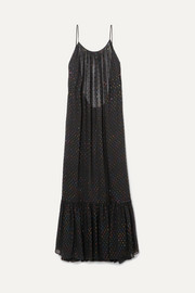 Caroline Constas Lola open-back metallic fil coupé chiffon maxi dress