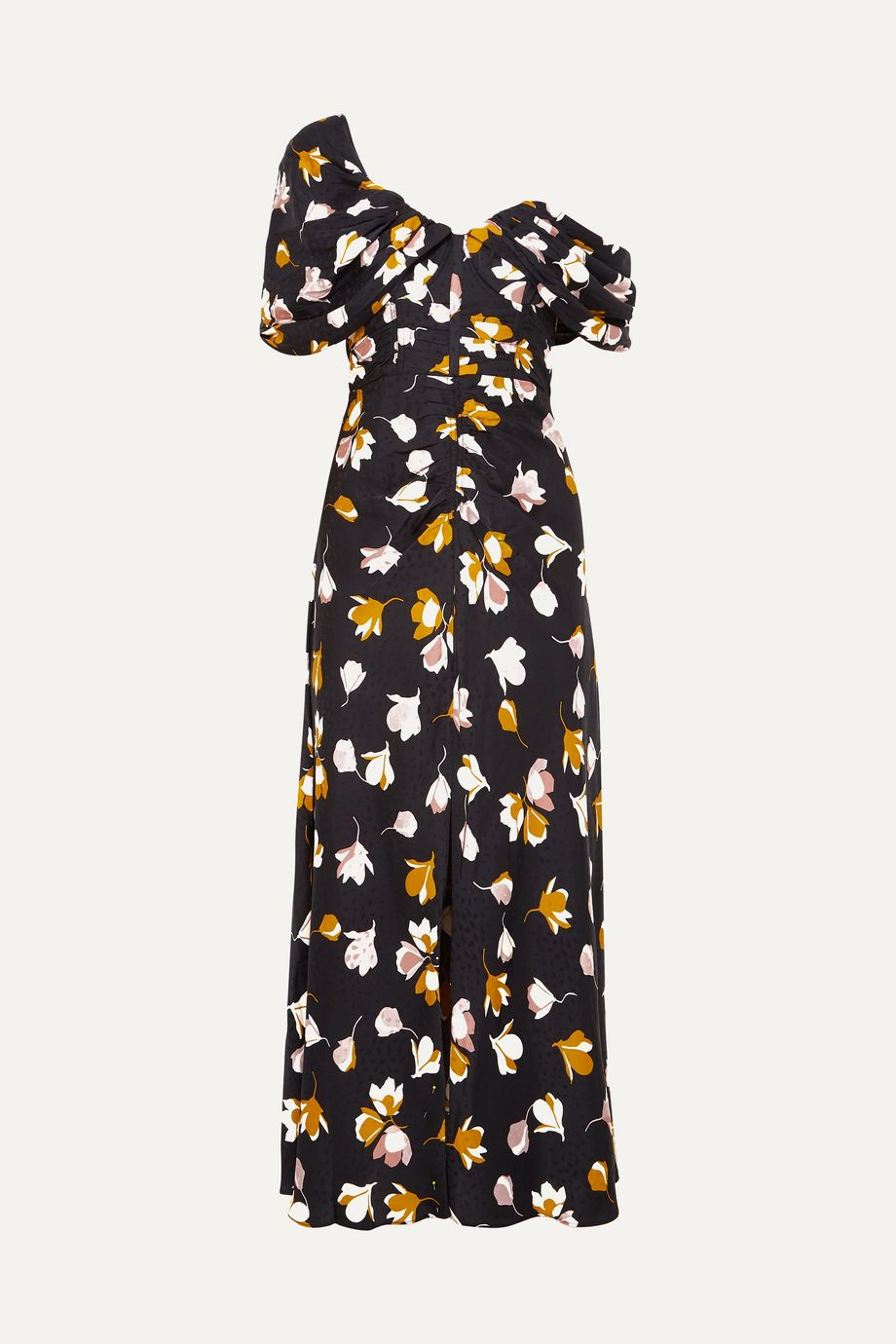 Self-Portrait Off-the-shoulder floral-print satin maxi dress