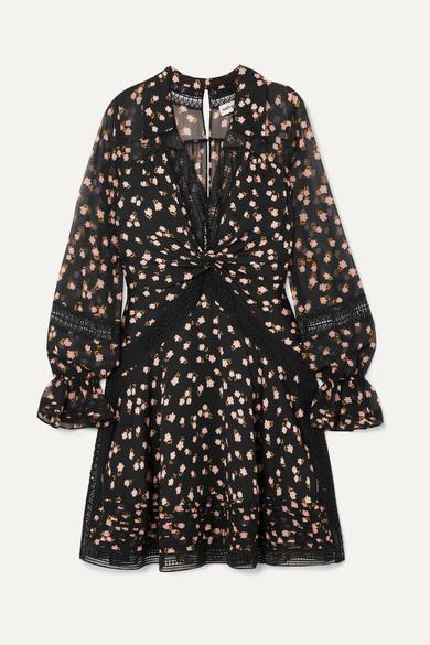 66057698f226 Self-Portrait | Guipure lace-trimmed floral-print chiffon mini dress ...
