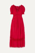 bf3208896fbe Self-Portrait Appliquéd lace-trimmed chiffon dress