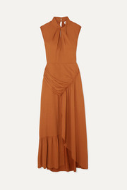 Self-Portrait Gathered crepe maxi dress