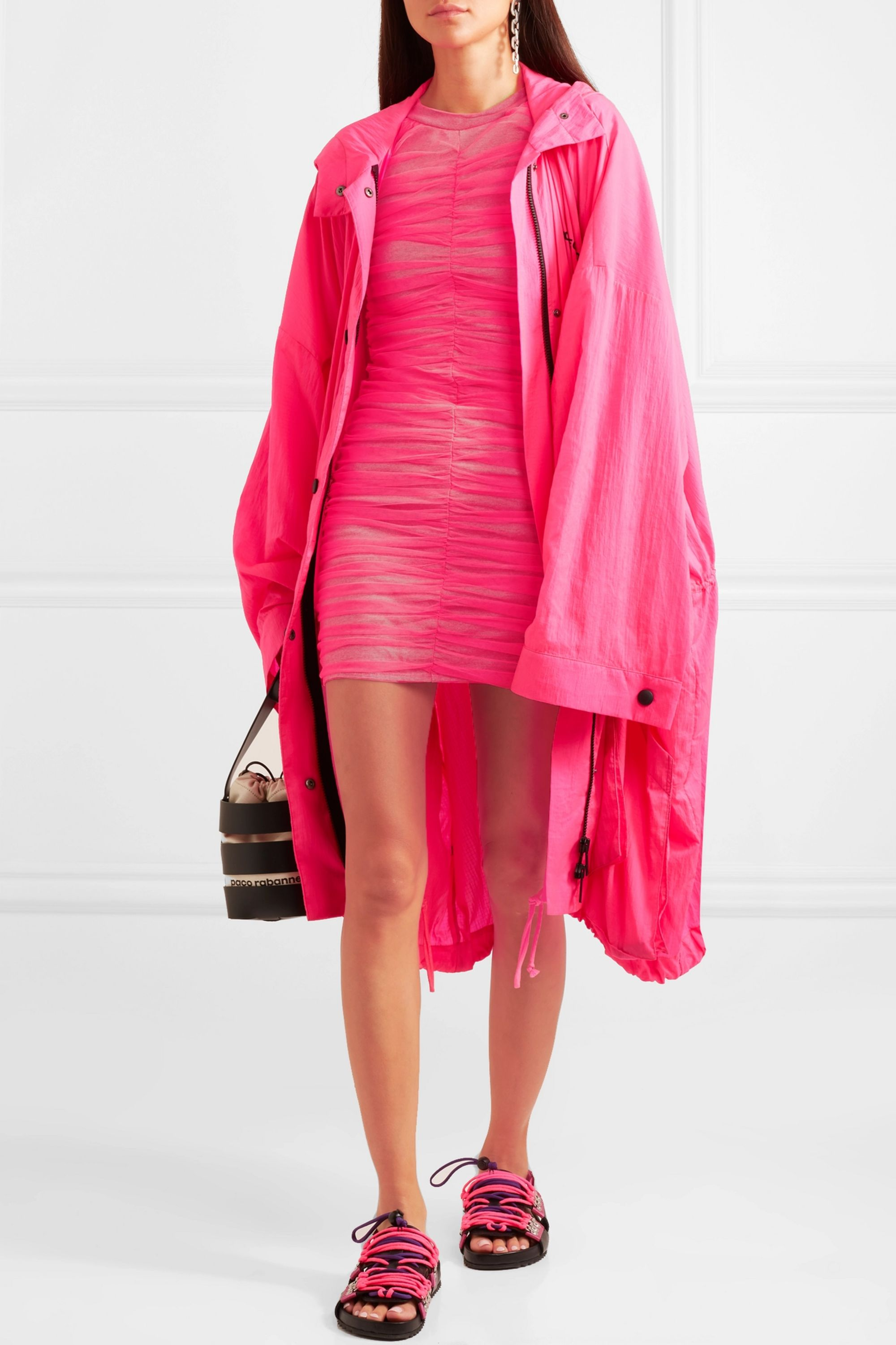 House of Holland Ruched tulle and stretch-cotton jersey mini dress
