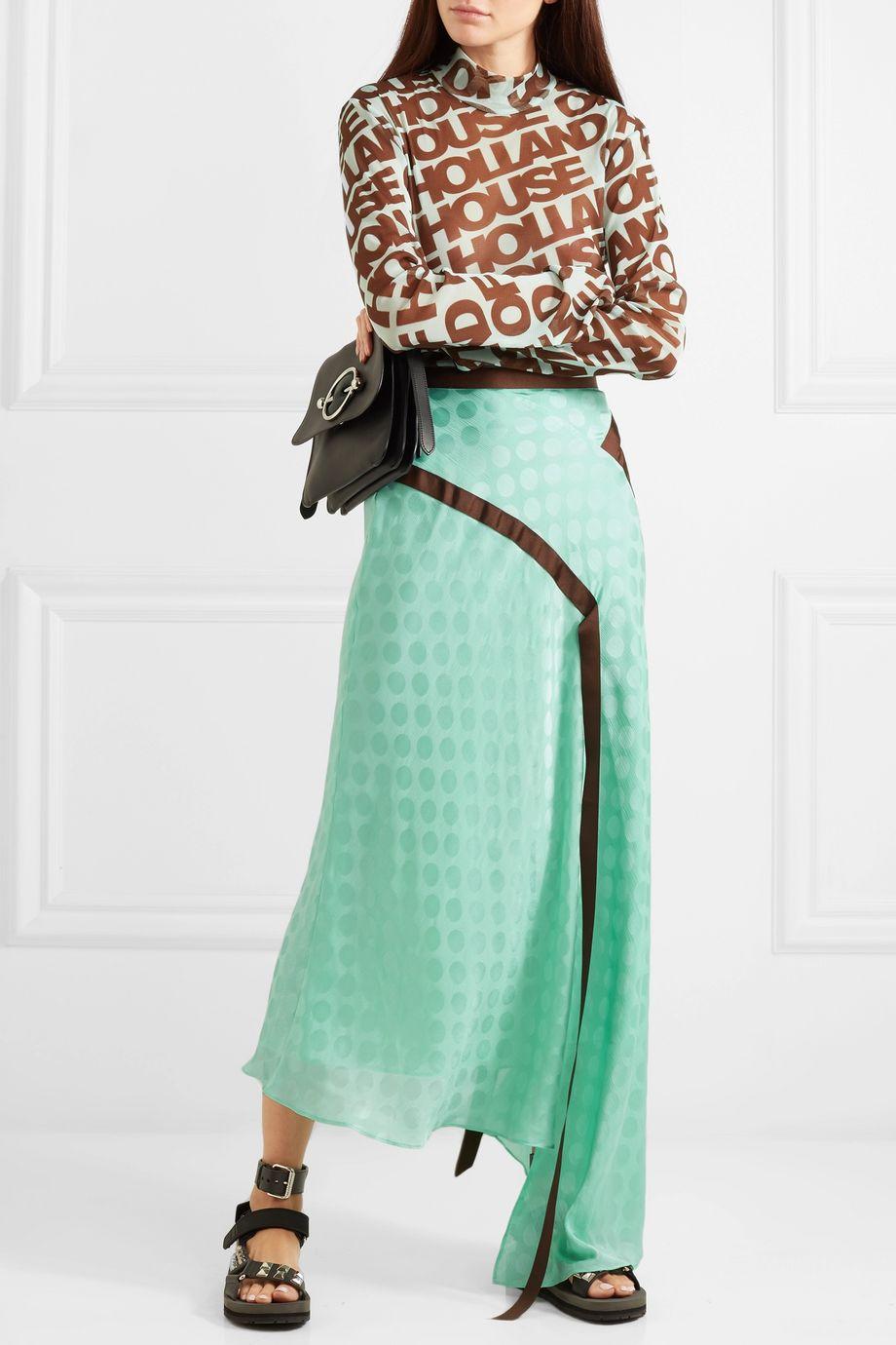 House of Holland Asymmetric satin-jacquard maxi skirt