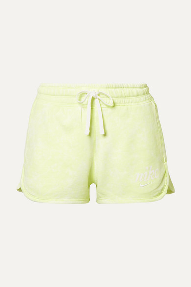 NIKE | Nike - Tie-Dyed French Cotton-Terry Shorts - Lime Green | Goxip