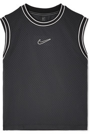 Court Essentials jersey-trimmed appliquéd mesh tank