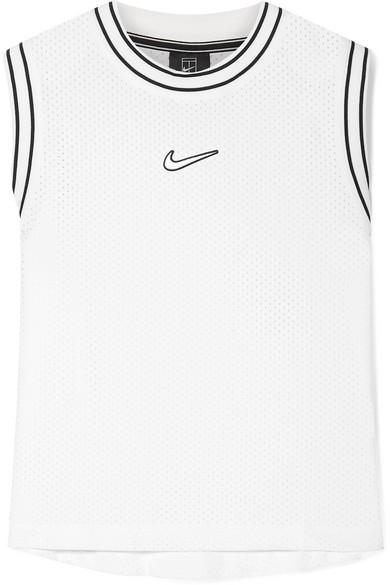 Court Essentials Jersey Trimmed Appliquéd Mesh Tank by Nike