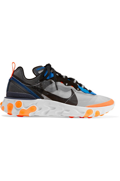 83a62c06a91c Nike. React Element 87 microsuede-trimmed ripstop sneakers