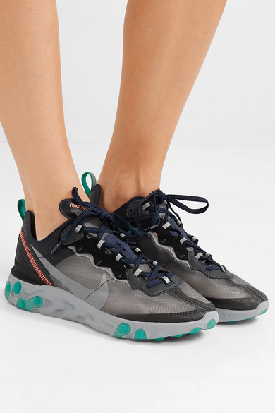267379c10101 React Element 87 microsuede-trimmed ripstop sneakers