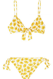 Laurent and Abbey tie-detailed floral-print triangle bikini