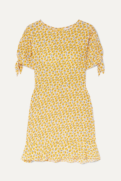 FAITHFULL THE BRAND | Faithfull The Brand - Daphne Bow-Detailed Floral-Print Crepe Mini Dress - Yellow | Goxip