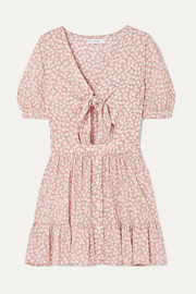 Faithfull The Brand Marigot tie-front cutout floral-print crepe mini dress