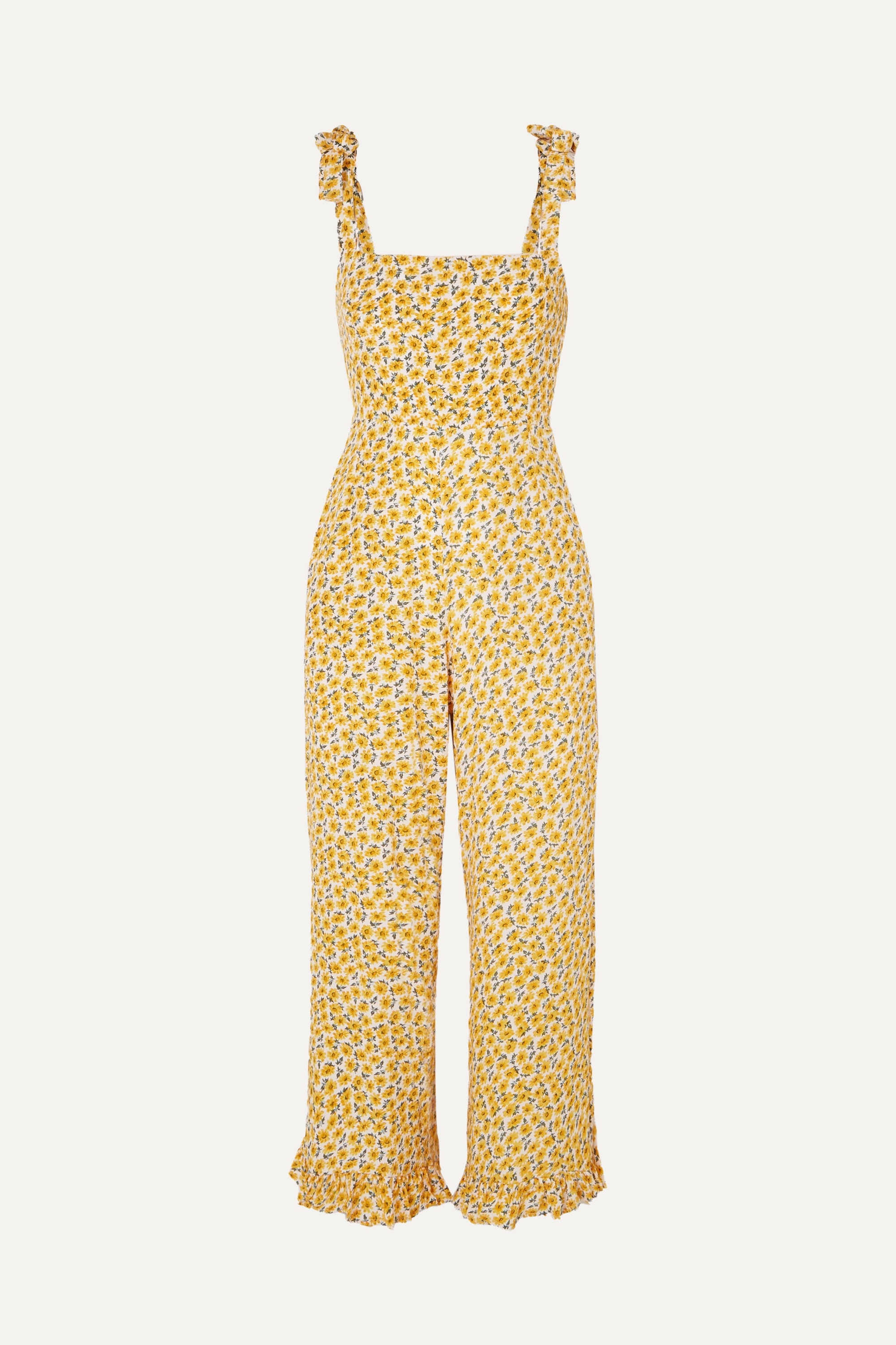 Faithfull The Brand Frankie ruffled shirred floral-print crepe jumpsuit