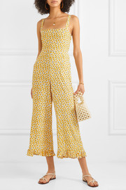Frankie ruffled shirred floral-print crepe jumpsuit