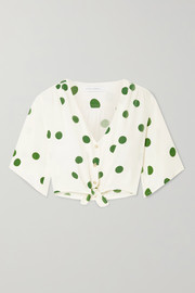 Faithfull The Brand Boulevards knotted polka-dot crepe top