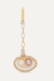 WALD Berlin Drop It Like It's Hot gold-plated, shell and pearl earring