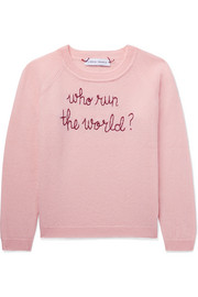 Ages 2 - 6 Who Run The World embroidered cashmere sweater