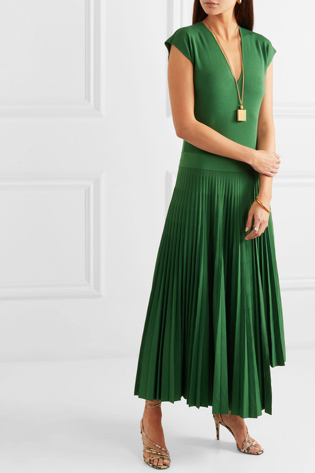 Asymmetric pleated silk and cotton-blend dress