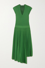 Asymmetric pleated silk and cotton-blend dress