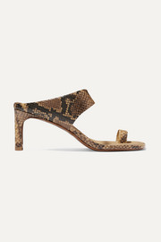 Snake-effect leather sandals