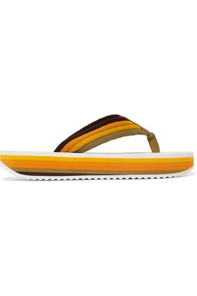 Zimmermann Slippers Rainbow leather-trimmed canvas platform  flip flops