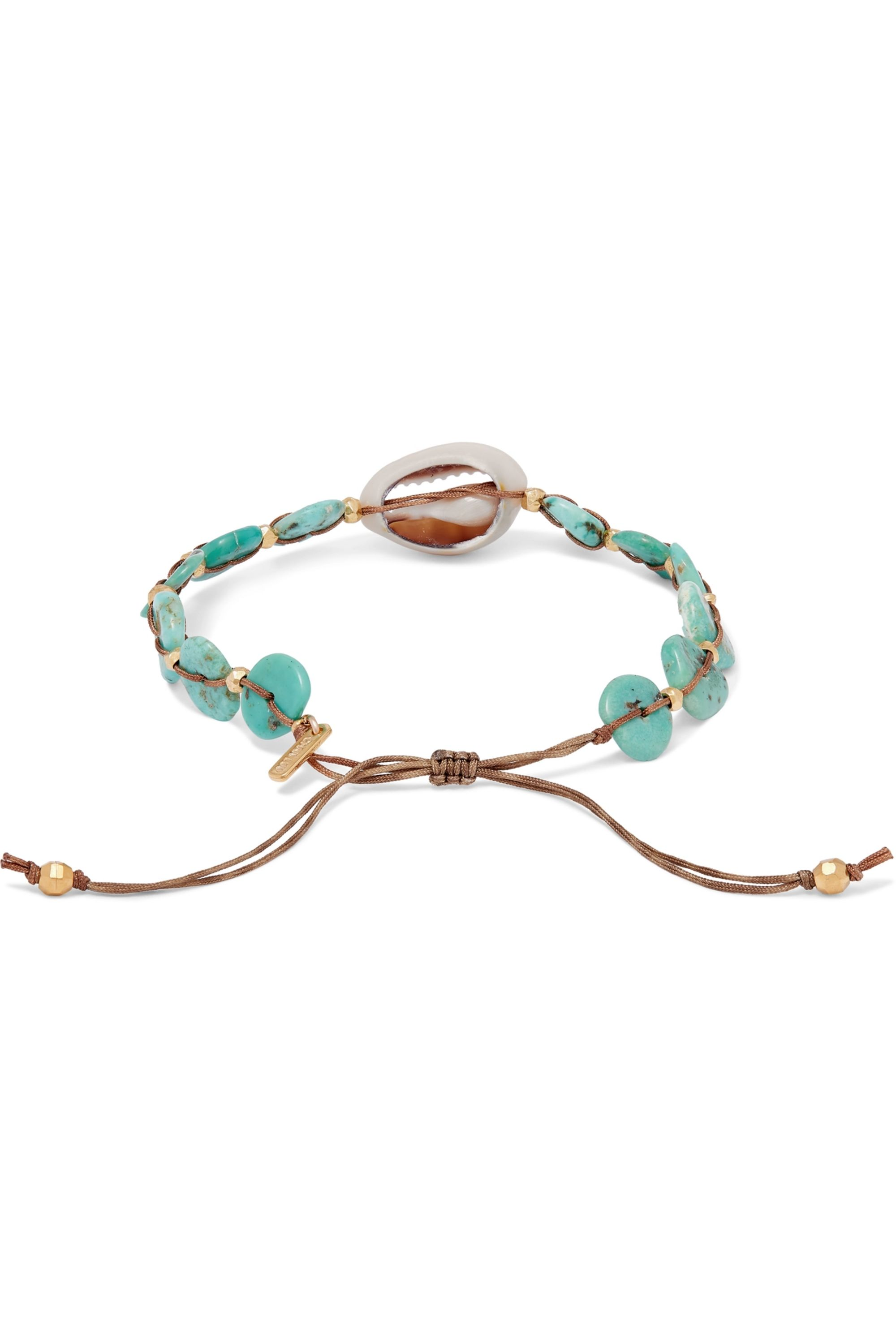 Chan Luu Turquoise, shell and gold-plated bracelet