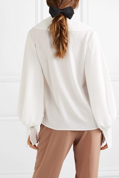 c977368fba0f47 Emilia Wickstead. Wide collar wrap-effect crepe blouse. €570 €34240% OFF.  Runway. Play