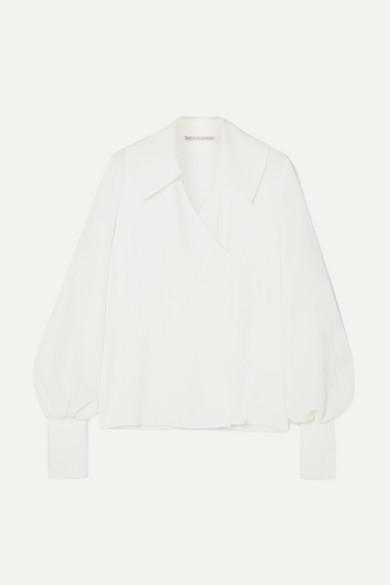 3e15570088fce1 Emilia Wickstead | Wide collar wrap-effect crepe blouse | NET-A-PORTER.COM