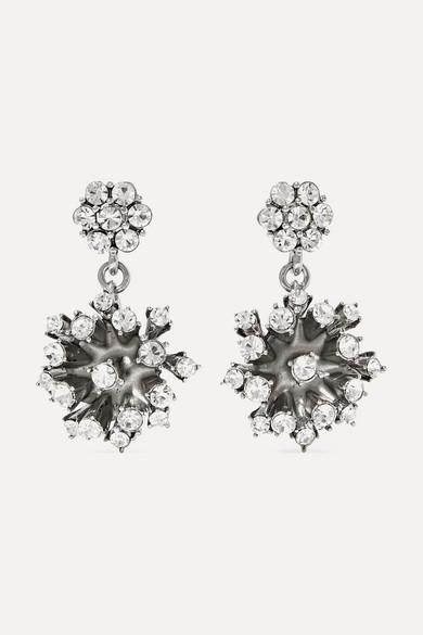 Oscar De La Renta Jewelry Silver-tone crystal earrings