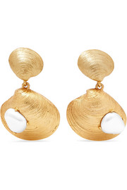 Gold-tone faux pearl clip earrings