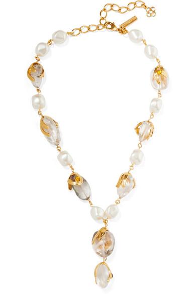 Oscar De La Renta Jewelry Gold-tone multi-stone necklace
