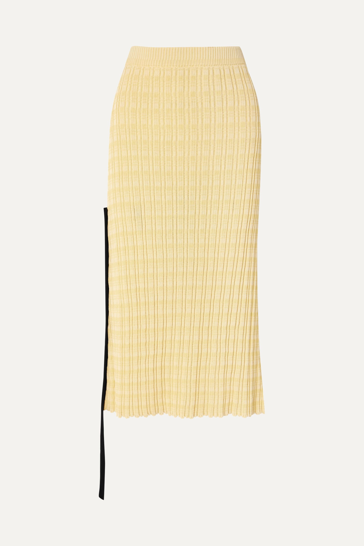 Jil Sander Chiffon-trimmed ribbed cotton midi skirt