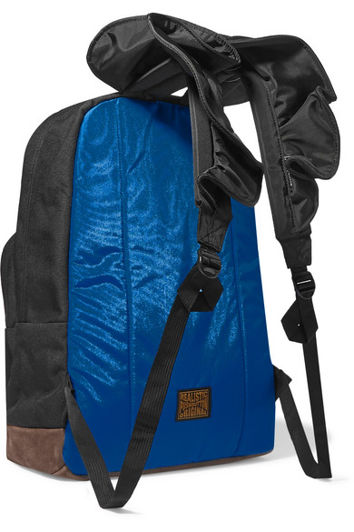 + JanSport ruffled shell and suede-trimmed canvas backpack