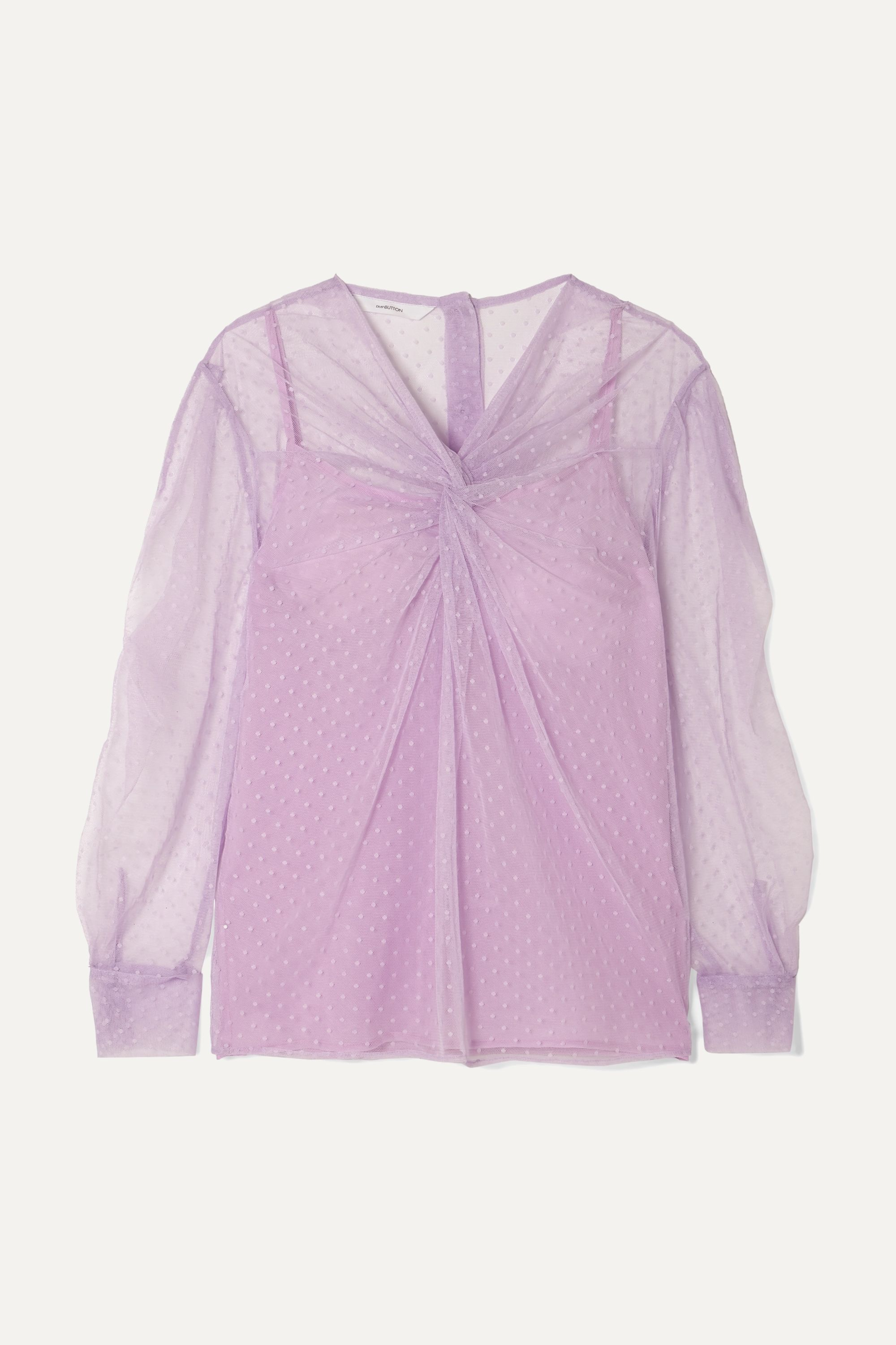 Pushbutton Ruched point d'esprit cotton and silk-blend tulle blouse