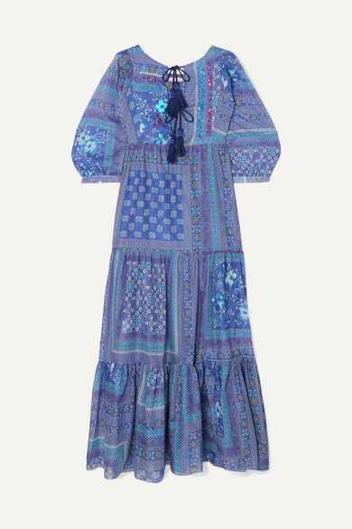 Tasseled Sequined Printed Cotton Maxi Dress by Anjuna