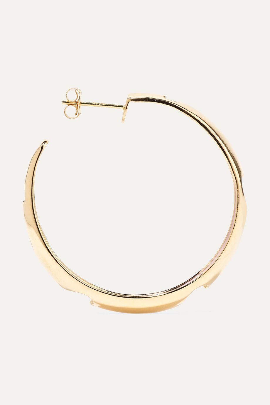 Alison Lou Heart 14-karat gold and enamel hoop earrings