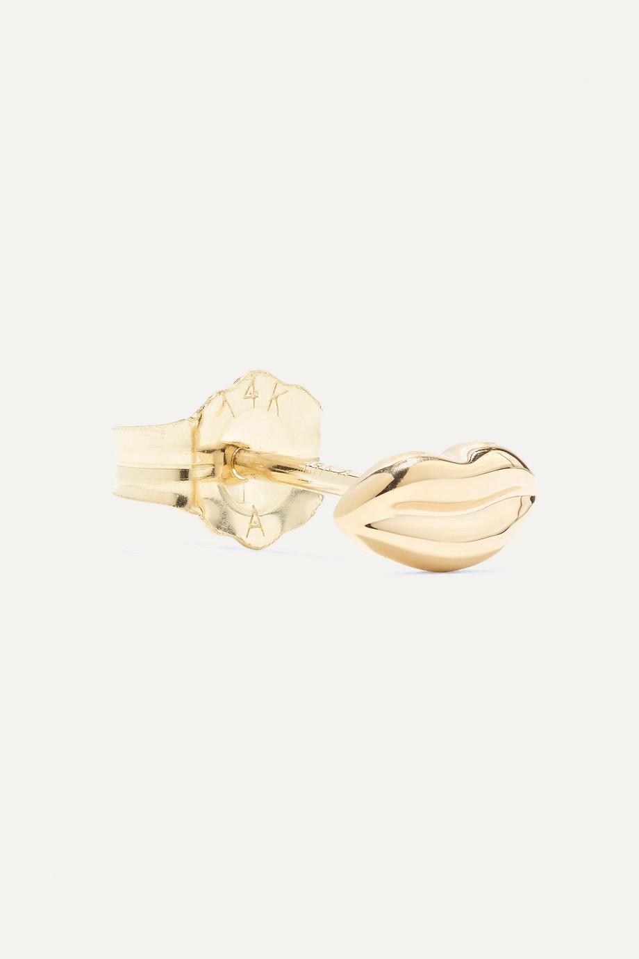 Alison Lou Mini Lip 14-karat gold earring